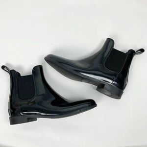 J Crew Black Slip-On Glossy Chelsea Rain Boots 7